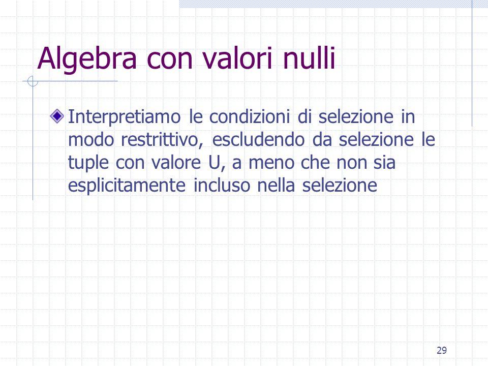 29 Algebra con valori nulli Interpretiamo le condizioni di selezione in modo restrittivo, escludendo da selezione le tuple con valore U, a meno che non sia esplicitamente incluso nella selezione