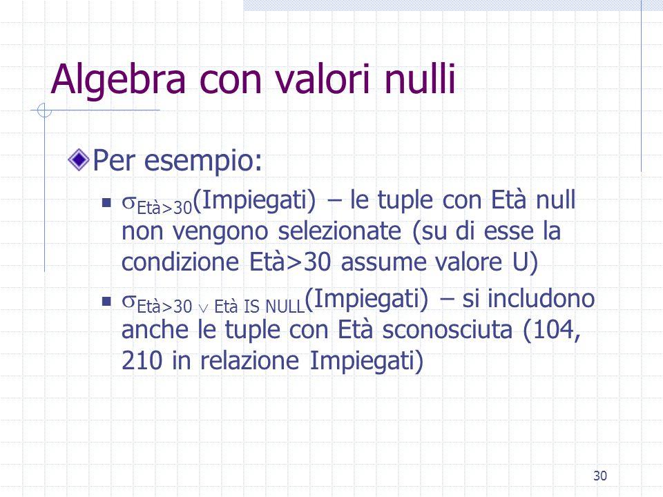 30 Algebra con valori nulli Per esempio:  Età>30 (Impiegati) – le tuple con Età null non vengono selezionate (su di esse la condizione Età>30 assume valore U)  Età>30  Età IS NULL (Impiegati) – si includono anche le tuple con Età sconosciuta (104, 210 in relazione Impiegati)