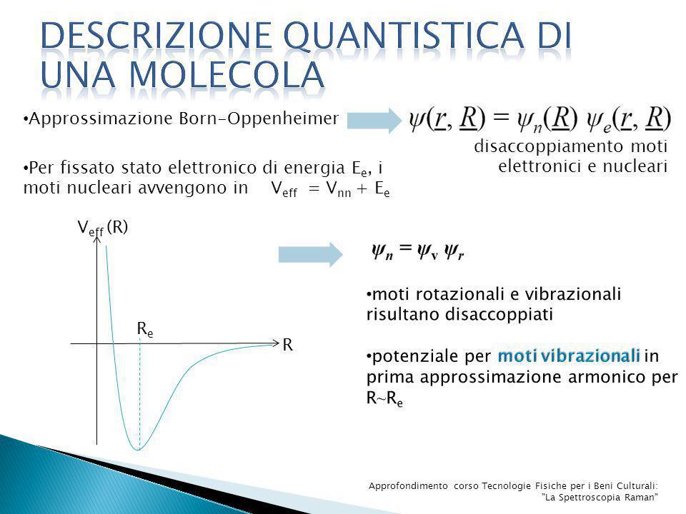 Approfondimento corso Tecnologie Fisiche per i Beni Culturali: La Spettroscopia Raman ∂α∕∂Q i | 0 ≠0 tensore polarizzabilità α rappresentabile tramite ellissoide origine = baricentro di carica della molecola plot variazione di forma, dimensione o orientazione dell'ellissoide per singolo modo Q i, consideriamo transizione tra stati vibrazionali tramite dipolo indotto μ ind =αε ∆v i =∓1 [∫Φ fin *μ ind Φ in d τ i ] exp[i(ω fin -ω in ) t] E o [∫Φ fin *αΦ in d τ i ] exp[i(∆ω ∓ ω o )]t approssimazione di α al primo ordine raman rotazionale α≃ α(o) + [∂α∕∂Q i | 0 ] Q i +…
