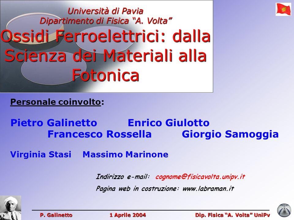"""Università di Pavia Dipartimento di Fisica """"A. Volta"""" Ossidi Ferroelettrici: dalla Scienza dei Materiali alla Fotonica P. Galinetto 1 Aprile 2004 Dip."""