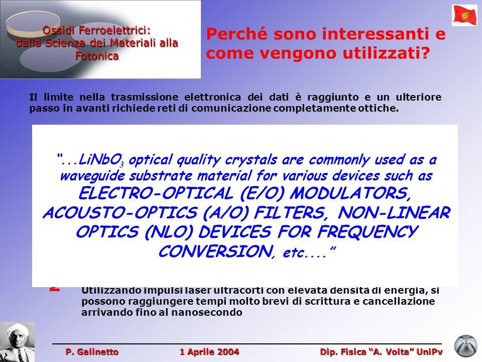 Ossidi Ferroelettrici: dalla Scienza dei Materiali alla Fotonica Perché sono interessanti e come vengono utilizzati? P. Galinetto 1 Aprile 2004 Dip. F