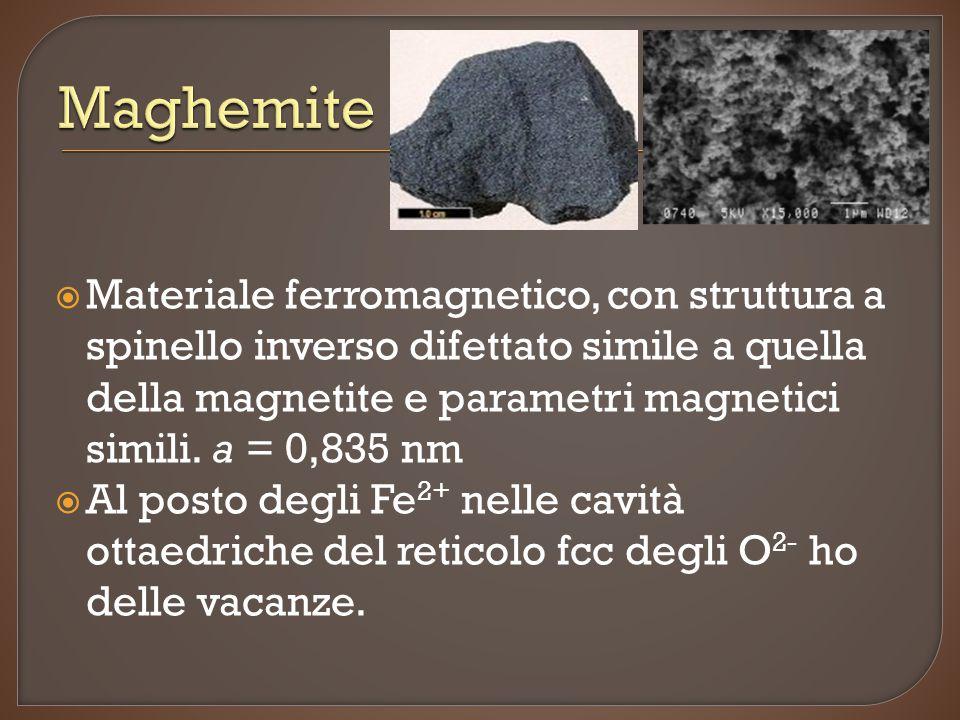  Materiale ferromagnetico, con struttura a spinello inverso difettato simile a quella della magnetite e parametri magnetici simili.