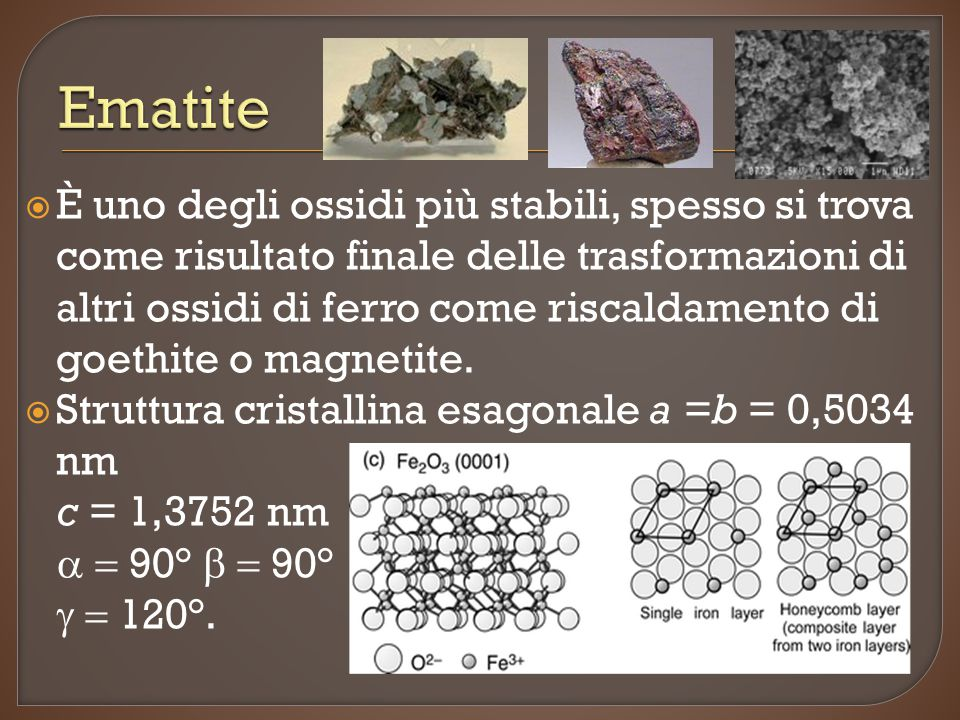  È uno degli ossidi più stabili, spesso si trova come risultato finale delle trasformazioni di altri ossidi di ferro come riscaldamento di goethite o magnetite.