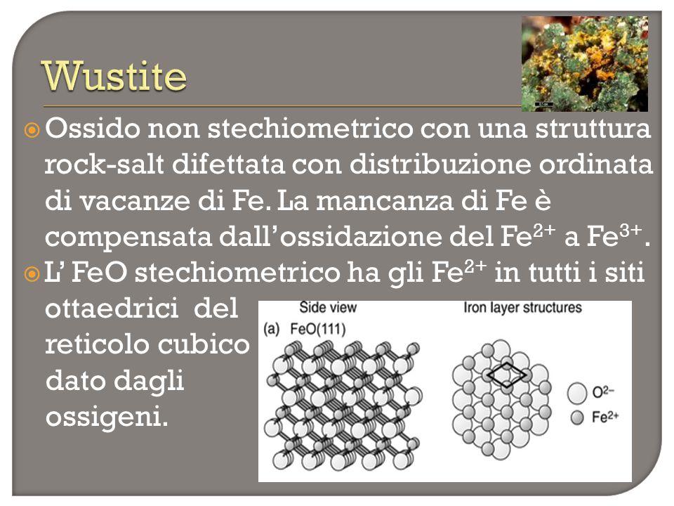  Ossido non stechiometrico con una struttura rock-salt difettata con distribuzione ordinata di vacanze di Fe. La mancanza di Fe è compensata dall'oss