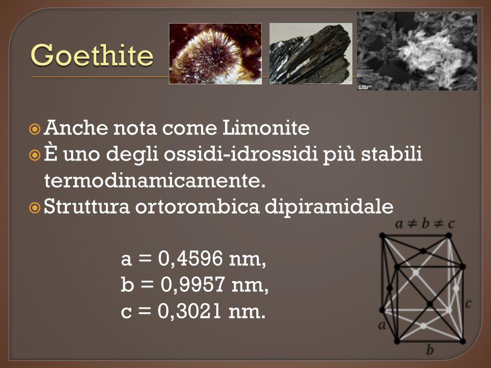  Anche nota come Limonite  È uno degli ossidi-idrossidi più stabili termodinamicamente.  Struttura ortorombica dipiramidale a = 0,4596 nm, b = 0,99