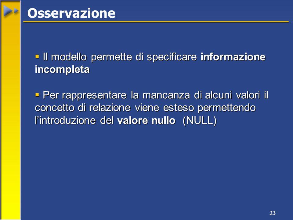 23 Osservazione  Il modello permette di specificare informazione incompleta  Per rappresentare la mancanza di alcuni valori il concetto di relazione viene esteso permettendo l'introduzione del valore nullo (NULL)