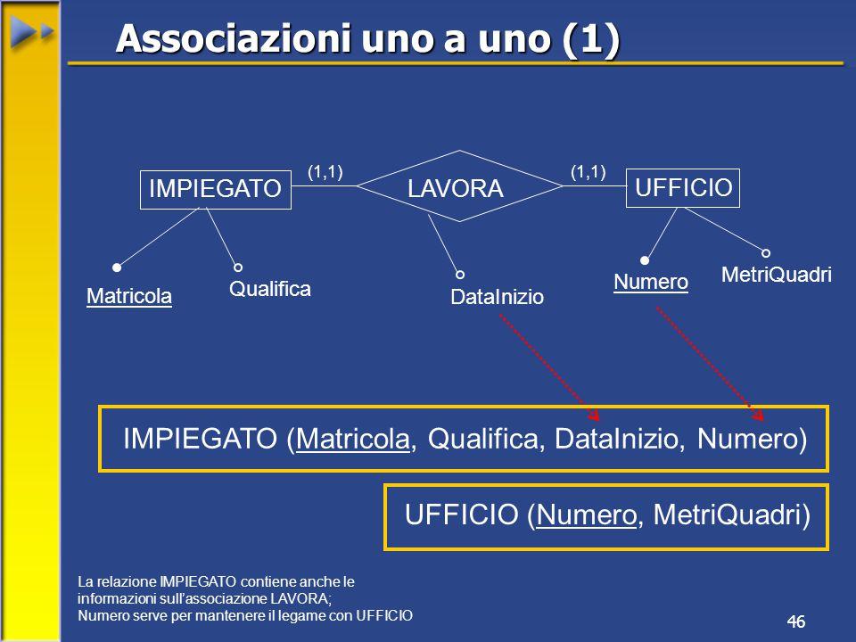 46 IMPIEGATO UFFICIO Matricola Qualifica Numero MetriQuadri (1,1) IMPIEGATO (Matricola, Qualifica, DataInizio, Numero) LAVORA UFFICIO (Numero, MetriQuadri) Associazioni uno a uno (1) (1,1) DataInizio La relazione IMPIEGATO contiene anche le informazioni sull'associazione LAVORA; Numero serve per mantenere il legame con UFFICIO