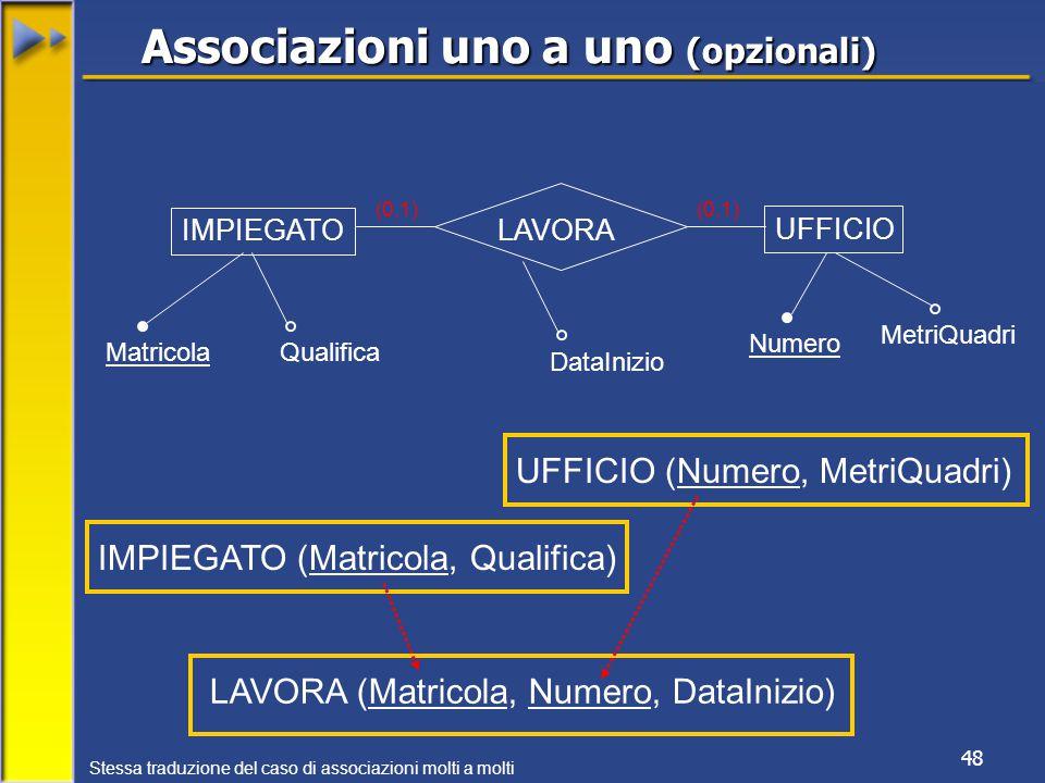 48 IMPIEGATO UFFICIO MatricolaQualifica Numero MetriQuadri (0,1) IMPIEGATO (Matricola, Qualifica) LAVORA UFFICIO (Numero, MetriQuadri) Associazioni uno a uno (opzionali) (0,1) LAVORA (Matricola, Numero, DataInizio) DataInizio Stessa traduzione del caso di associazioni molti a molti