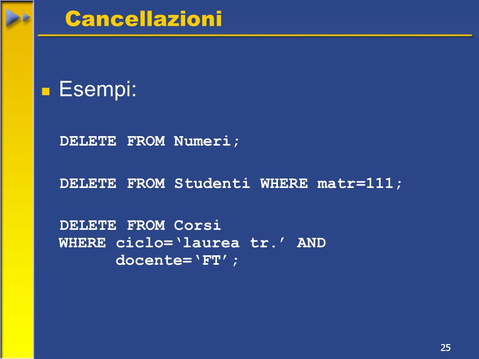 25 Cancellazioni Esempi: DELETE FROM Numeri; DELETE FROM Studenti WHERE matr=111; DELETE FROM Corsi WHERE ciclo='laurea tr.' AND docente='FT';