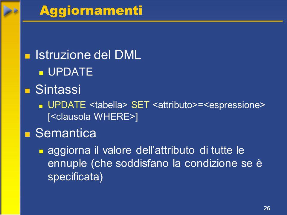 26 Aggiornamenti Istruzione del DML UPDATE Sintassi UPDATE SET = [ ] Semantica aggiorna il valore dell'attributo di tutte le ennuple (che soddisfano la condizione se è specificata)