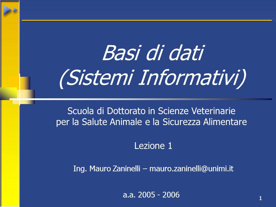 1 Basi di dati (Sistemi Informativi) Scuola di Dottorato in Scienze Veterinarie per la Salute Animale e la Sicurezza Alimentare a.a.