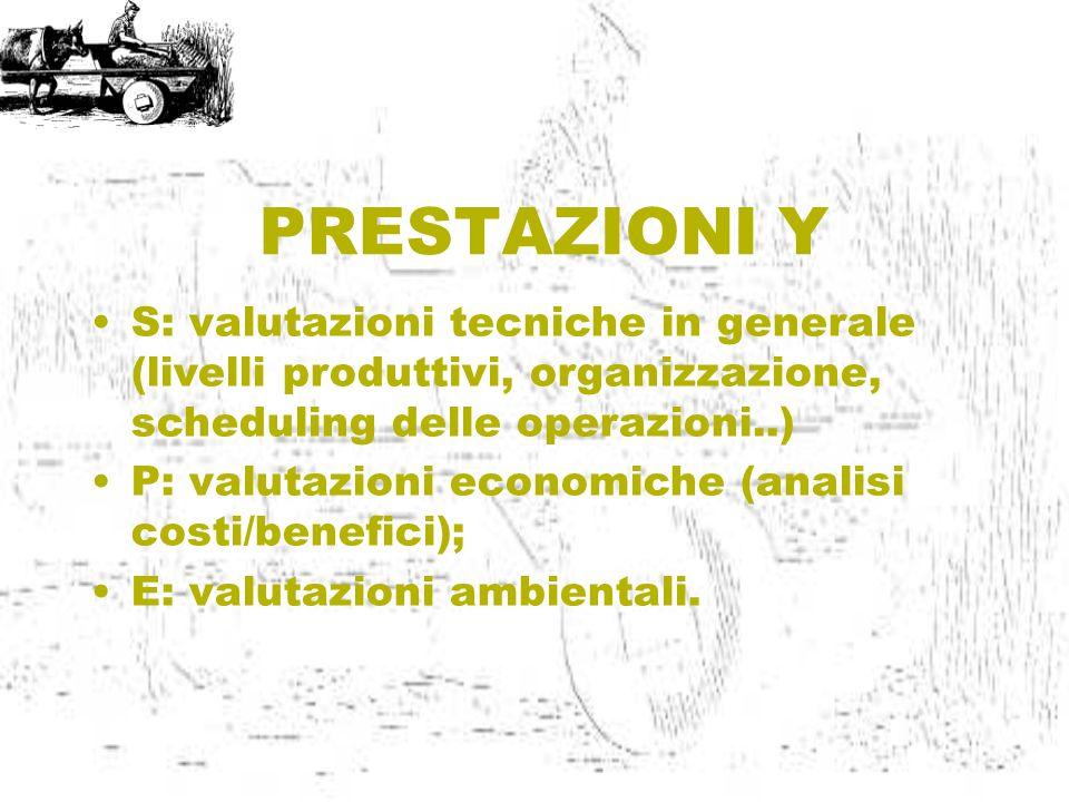 PRESTAZIONI Y S: valutazioni tecniche in generale (livelli produttivi, organizzazione, scheduling delle operazioni..) P: valutazioni economiche (analisi costi/benefici); E: valutazioni ambientali.
