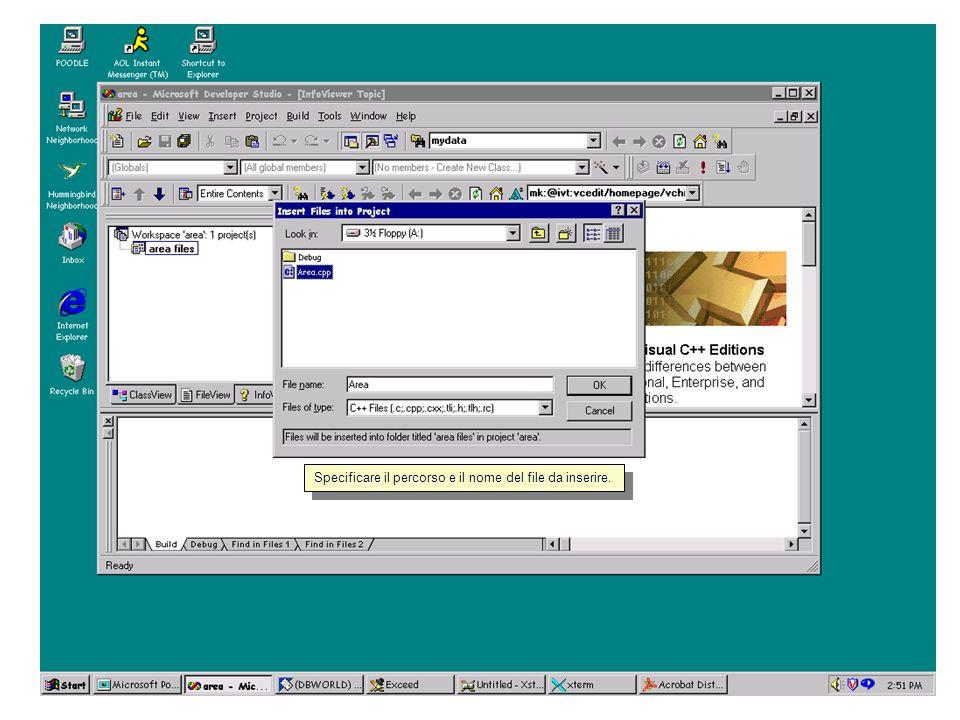 Qui è possibile inserire il file sorgente al progetto.