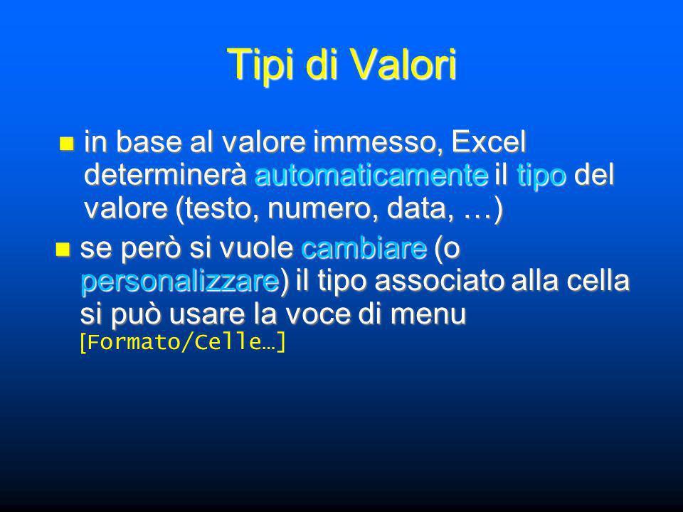 Tipi di Valori in base al valore immesso, Excel determinerà automaticamente il tipo del valore (testo, numero, data, …) in base al valore immesso, Excel determinerà automaticamente il tipo del valore (testo, numero, data, …) se però si vuole cambiare (o personalizzare) il tipo associato alla cella si può usare la voce di menu se però si vuole cambiare (o personalizzare) il tipo associato alla cella si può usare la voce di menu [ Formato/Celle…]