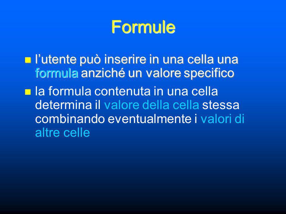 Formule l'utente può inserire in una cella una formula anziché un valore specifico l'utente può inserire in una cella una formula anziché un valore specifico la formula contenuta in una cella determina il valore della cella stessa combinando eventualmente i valori di altre celle