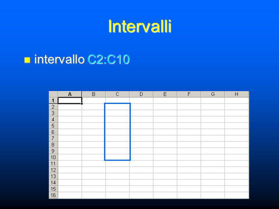 Intervalli intervallo C2:C10 intervallo C2:C10