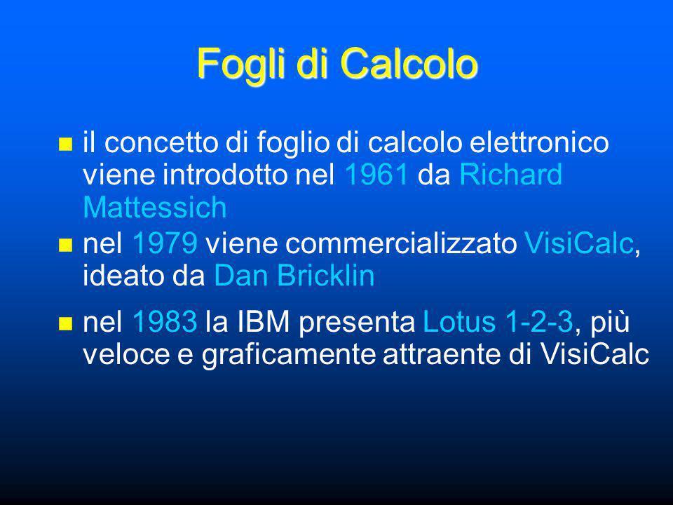 Fogli di Calcolo il concetto di foglio di calcolo elettronico viene introdotto nel 1961 da Richard Mattessich nel 1979 viene commercializzato VisiCalc, ideato da Dan Bricklin nel 1983 la IBM presenta Lotus 1-2-3, più veloce e graficamente attraente di VisiCalc
