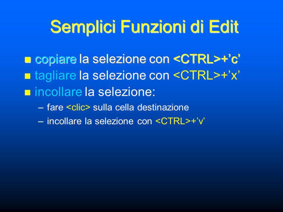 Semplici Funzioni di Edit copiare la selezione con +'c' copiare la selezione con +'c' tagliare la selezione con +'x' incollare la selezione: –fare sulla cella destinazione –incollare la selezione con +'v'