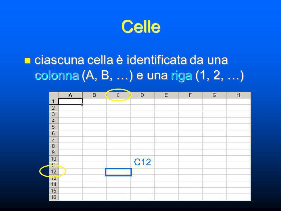 Intervalli per riferirci a una singola cella utilizziamo colonna e riga come in A3 per riferirci a una singola cella utilizziamo colonna e riga come in A3 ci sarà utile poterci riferire a intervalli di celle senza elencarle una ad una