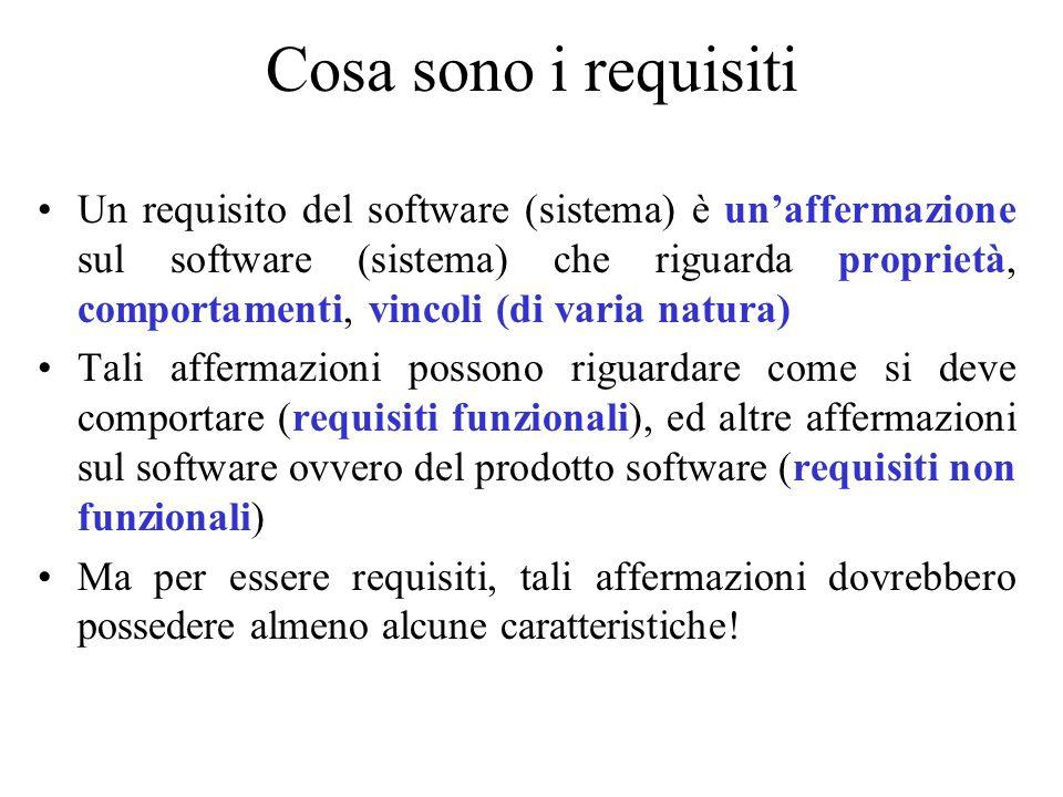 Cosa sono i requisiti Un requisito del software (sistema) è un'affermazione sul software (sistema) che riguarda proprietà, comportamenti, vincoli (di
