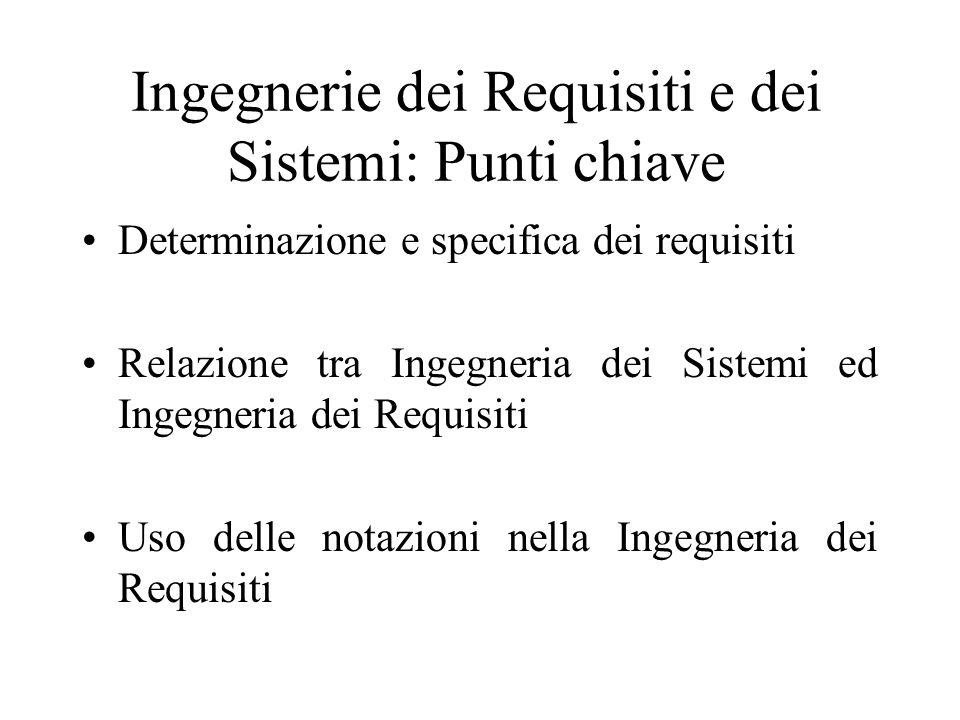 Ingegnerie dei Requisiti e dei Sistemi: Punti chiave Determinazione e specifica dei requisiti Relazione tra Ingegneria dei Sistemi ed Ingegneria dei Requisiti Uso delle notazioni nella Ingegneria dei Requisiti