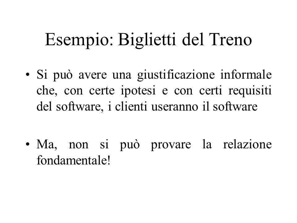 Esempio: Biglietti del Treno Si può avere una giustificazione informale che, con certe ipotesi e con certi requisiti del software, i clienti useranno il software Ma, non si può provare la relazione fondamentale!