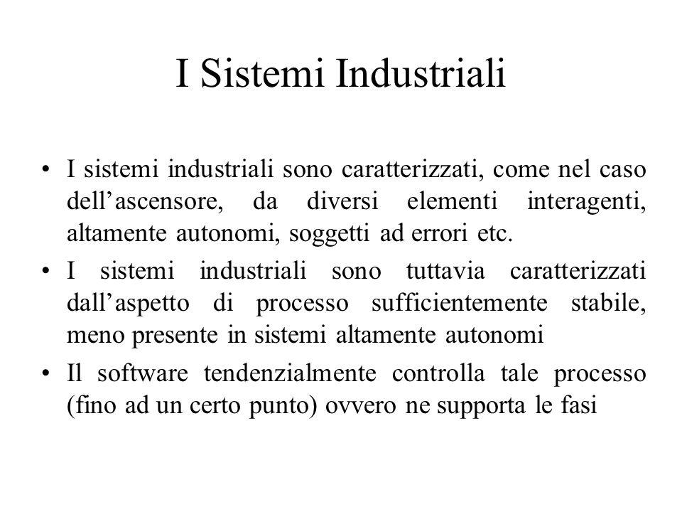 I Sistemi Industriali I sistemi industriali sono caratterizzati, come nel caso dell'ascensore, da diversi elementi interagenti, altamente autonomi, soggetti ad errori etc.