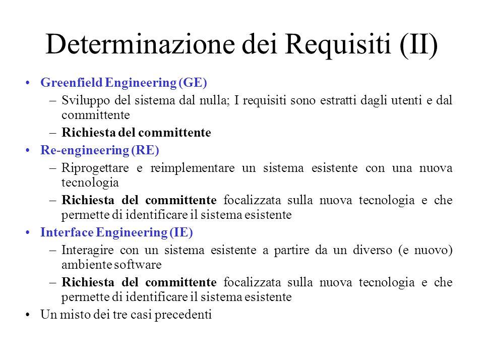 Determinazione dei Requisiti (II) Greenfield Engineering (GE) –Sviluppo del sistema dal nulla; I requisiti sono estratti dagli utenti e dal committente –Richiesta del committente Re-engineering (RE) –Riprogettare e reimplementare un sistema esistente con una nuova tecnologia –Richiesta del committente focalizzata sulla nuova tecnologia e che permette di identificare il sistema esistente Interface Engineering (IE) –Interagire con un sistema esistente a partire da un diverso (e nuovo) ambiente software –Richiesta del committente focalizzata sulla nuova tecnologia e che permette di identificare il sistema esistente Un misto dei tre casi precedenti