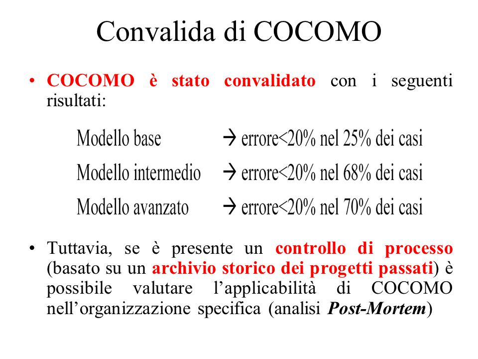 Convalida di COCOMO COCOMO è stato convalidato con i seguenti risultati: Tuttavia, se è presente un controllo di processo (basato su un archivio stori