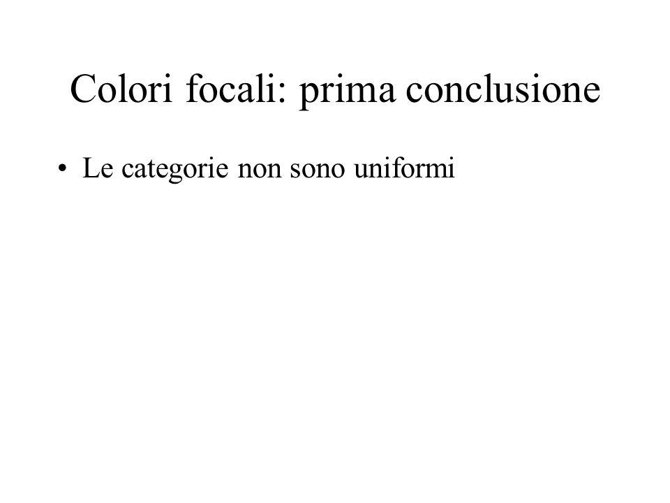 Colori focali: prima conclusione Le categorie non sono uniformi