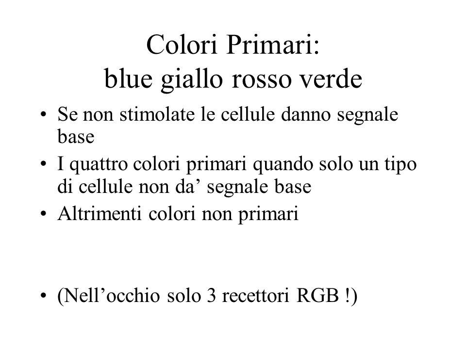 Colori Primari: blue giallo rosso verde Se non stimolate le cellule danno segnale base I quattro colori primari quando solo un tipo di cellule non da'