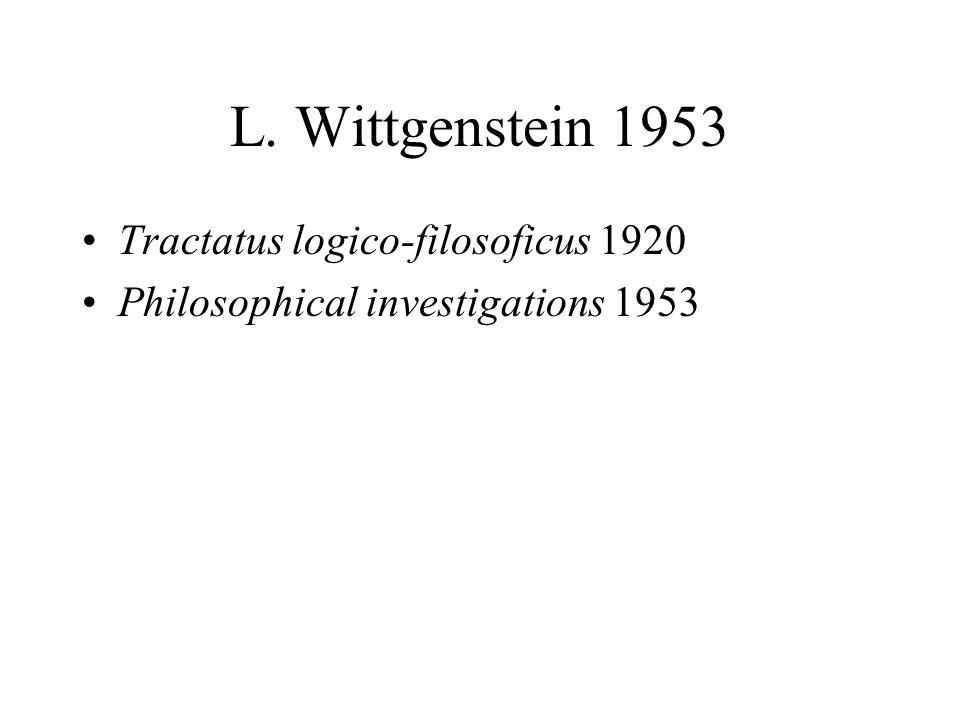 L. Wittgenstein 1953 Tractatus logico-filosoficus 1920 Philosophical investigations 1953