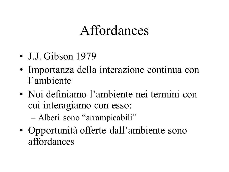Affordances J.J. Gibson 1979 Importanza della interazione continua con l'ambiente Noi definiamo l'ambiente nei termini con cui interagiamo con esso: –