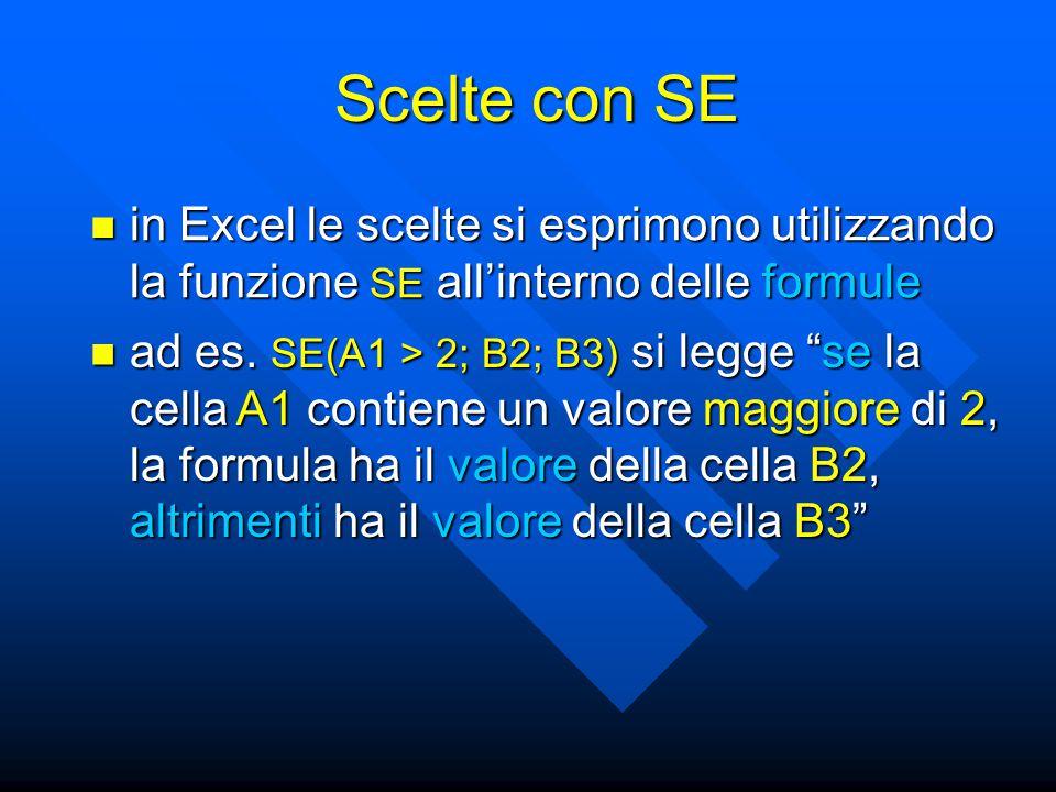 in Excel le scelte si esprimono utilizzando la funzione SE all'interno delle formule in Excel le scelte si esprimono utilizzando la funzione SE all'interno delle formule Scelte con SE ad es.