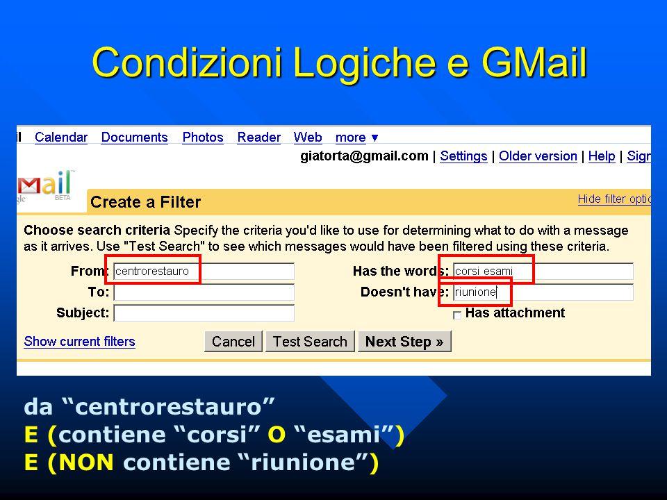 Condizioni Logiche e GMail da centrorestauro E (contiene corsi O esami ) E (NON contiene riunione )