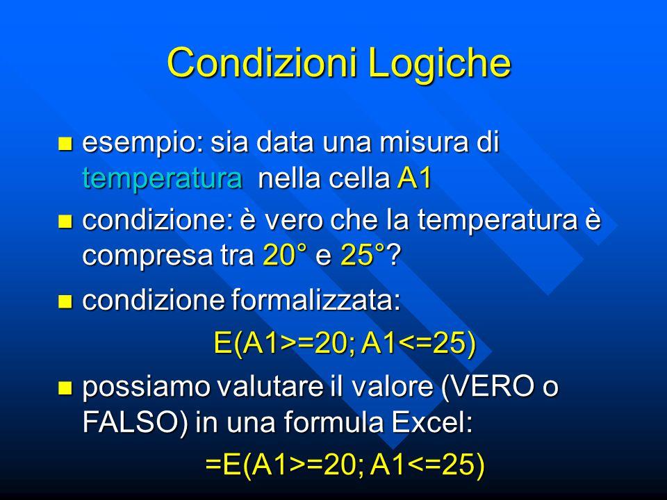 esempio: sia data una misura di temperatura nella cella A1 esempio: sia data una misura di temperatura nella cella A1 condizione formalizzata: condizione formalizzata: E(A1>=20; A1 =20; A1<=25) condizione: è vero che la temperatura è compresa tra 20° e 25°.