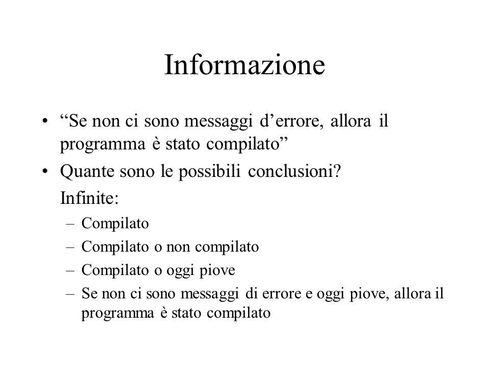 """Informazione """"Se non ci sono messaggi d'errore, allora il programma è stato compilato"""" Quante sono le possibili conclusioni? Infinite: –Compilato –Com"""