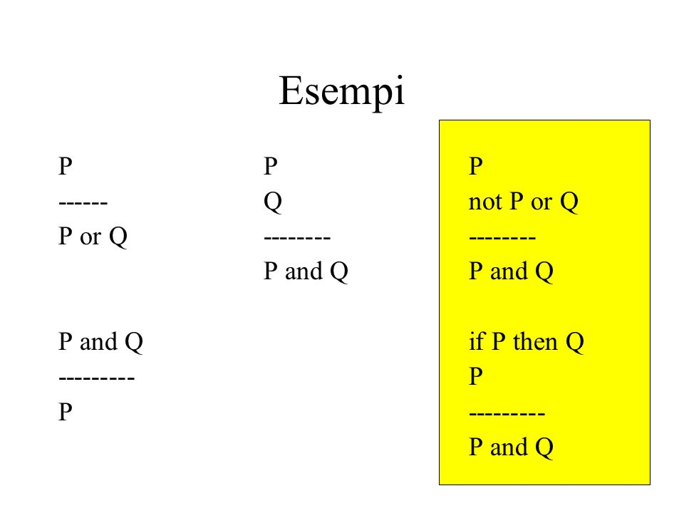 Esempi PPP ------Qnot P or Q P or Q----------------P and Q P and Qif P then Q ---------P P--------- P and Q