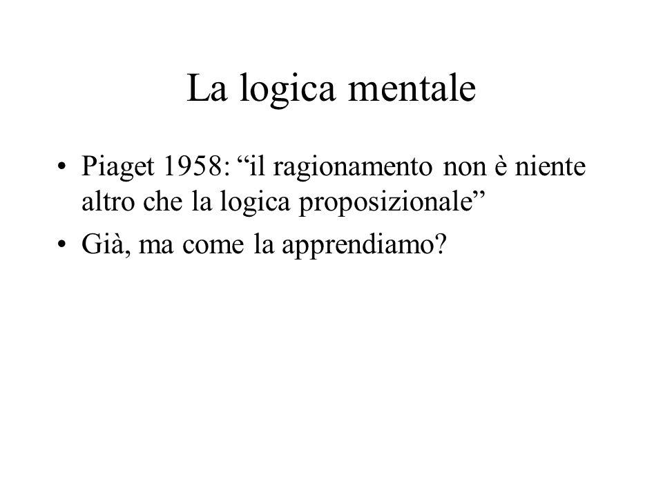 La logica mentale Piaget 1958: il ragionamento non è niente altro che la logica proposizionale Già, ma come la apprendiamo?