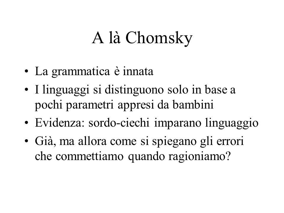 A là Chomsky La grammatica è innata I linguaggi si distinguono solo in base a pochi parametri appresi da bambini Evidenza: sordo-ciechi imparano linguaggio Già, ma allora come si spiegano gli errori che commettiamo quando ragioniamo?