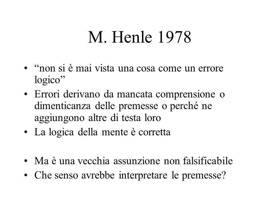 """M. Henle 1978 """"non si è mai vista una cosa come un errore logico"""" Errori derivano da mancata comprensione o dimenticanza delle premesse o perché ne ag"""
