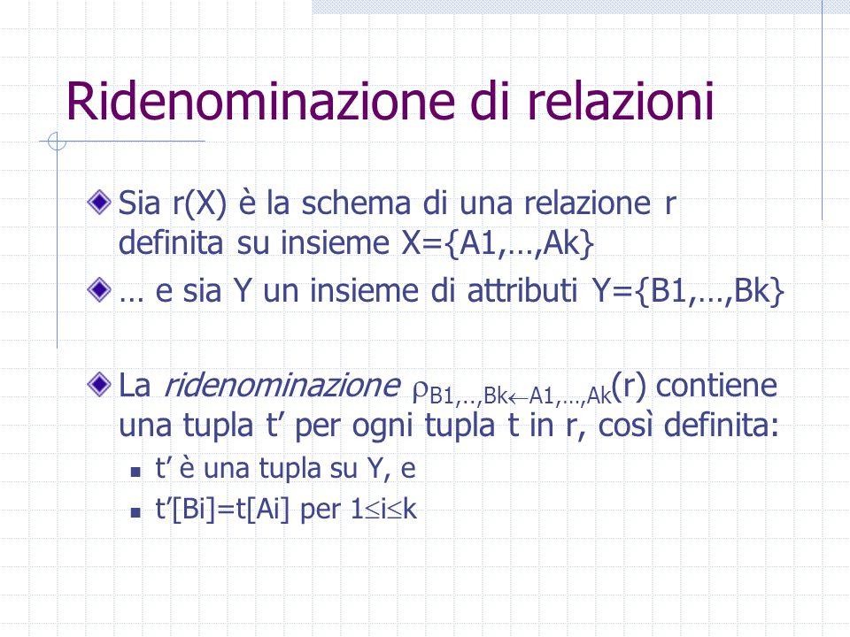 Ridenominazione di relazioni Sia r(X) è la schema di una relazione r definita su insieme X={A1,…,Ak} … e sia Y un insieme di attributi Y={B1,…,Bk} La ridenominazione  B1,..,Bk  A1,…,Ak (r) contiene una tupla t' per ogni tupla t in r, così definita: t' è una tupla su Y, e t'[Bi]=t[Ai] per 1  i  k