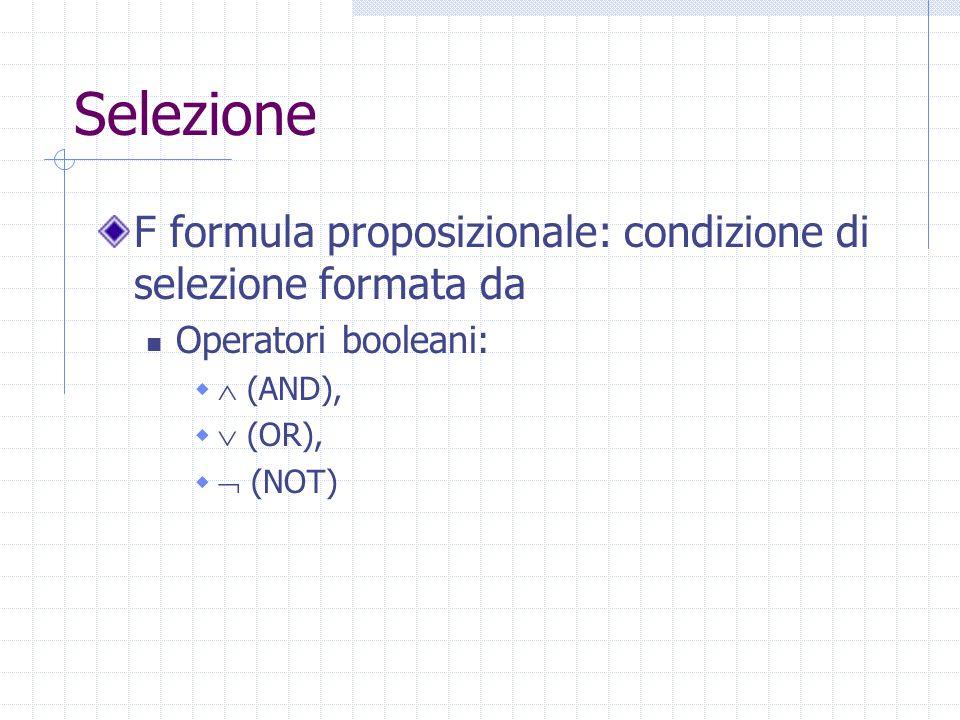 Selezione F formula proposizionale: condizione di selezione formata da Operatori booleani:   (AND),   (OR),   (NOT)