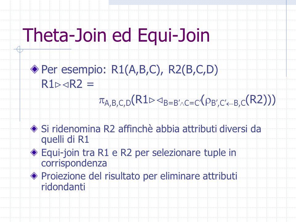 Theta-Join ed Equi-Join Per esempio: R1(A,B,C), R2(B,C,D) R1  R2 =  A,B,C,D (R1  B=B'  C=C' (  B',C'  B,C (R2))) Si ridenomina R2 affinchè abbia attributi diversi da quelli di R1 Equi-join tra R1 e R2 per selezionare tuple in corrispondenza Proiezione del risultato per eliminare attributi ridondanti