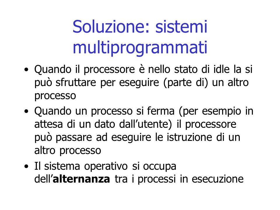 Soluzione: sistemi multiprogrammati Quando il processore è nello stato di idle la si può sfruttare per eseguire (parte di) un altro processo Quando un