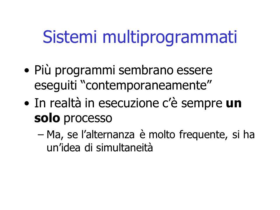 """Sistemi multiprogrammati Più programmi sembrano essere eseguiti """"contemporaneamente"""" In realtà in esecuzione c'è sempre un solo processo –Ma, se l'alt"""