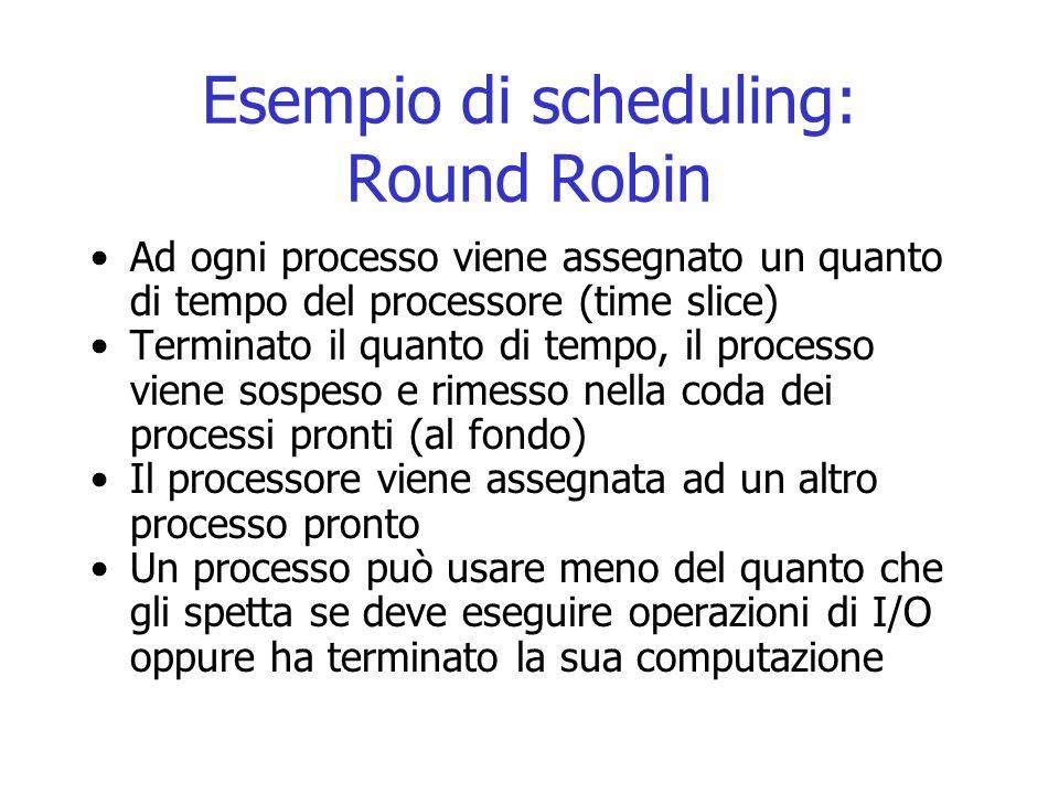 Esempio di scheduling: Round Robin Ad ogni processo viene assegnato un quanto di tempo del processore (time slice) Terminato il quanto di tempo, il pr
