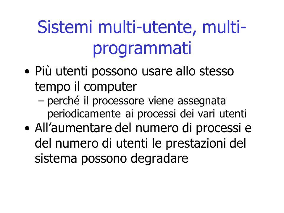 Sistemi multi-utente, multi- programmati Più utenti possono usare allo stesso tempo il computer –perché il processore viene assegnata periodicamente a