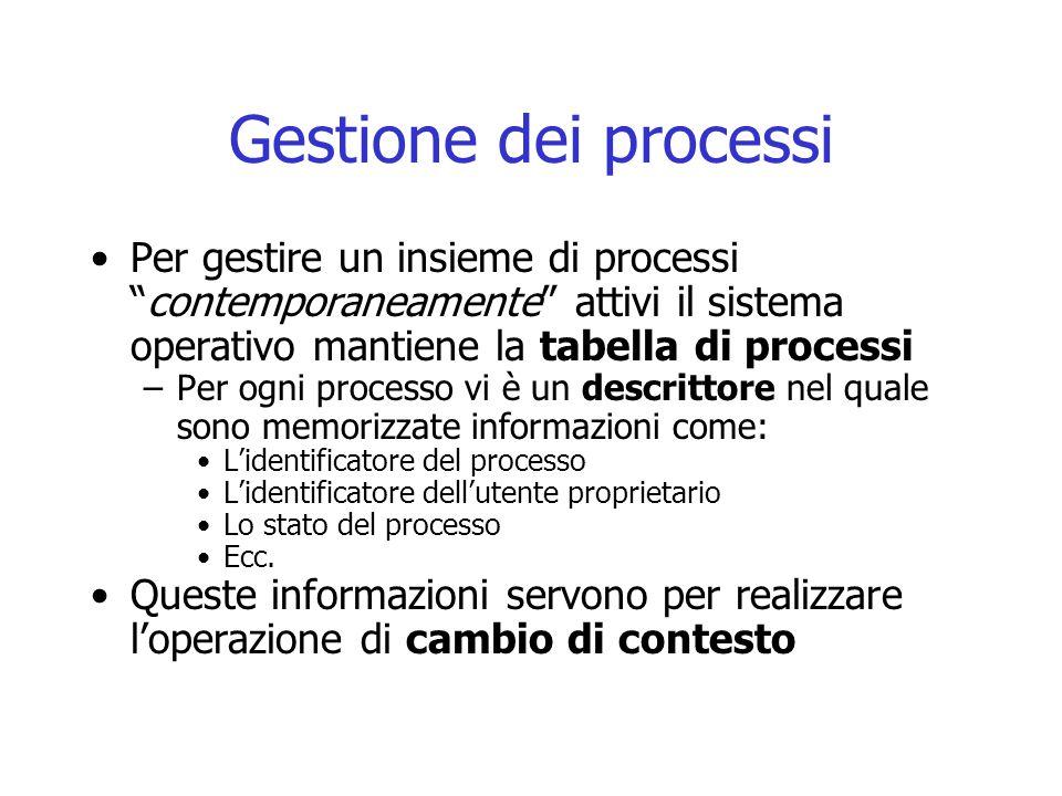 """Gestione dei processi Per gestire un insieme di processi """"contemporaneamente"""" attivi il sistema operativo mantiene la tabella di processi –Per ogni pr"""
