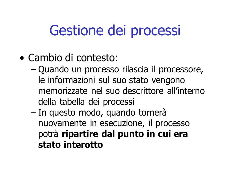Gestione dei processi Cambio di contesto: –Quando un processo rilascia il processore, le informazioni sul suo stato vengono memorizzate nel suo descri
